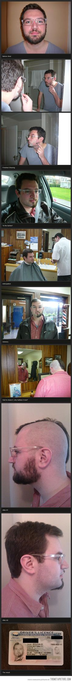 The photostory about the guy in British Columbia with the weird driver's licence