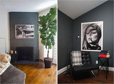 Love these statement art pieces Beautiful Home Designs, Beautiful Homes, Basement Movie Room, Modern Interior, Interior Design, Black Walls, Contemporary Design, New Homes, House Design