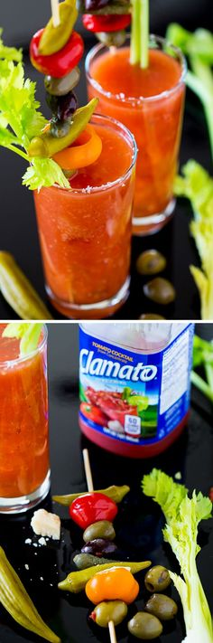 This Bloody Mary (Bloody Caesar) recipe uses Clamato Original Tomato Juice to whip up the perfect brunch beverage! Served with a killer veggie skewer! #fiestaclamato #clamato #sponsored