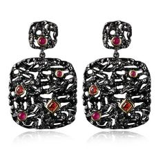 African Look Black Party Big Drop Earrings Lead Free Black Gold Plated Red Cubic Zirconia Allergy Free Earrrings Fashion Jewelry