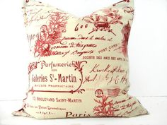 WEEKLY SPECIAL 10.00 Pillow Cover French Red Sand Beige Script Coral Decorative Accent Cushion Repurposed 16x16. $10.00, via Etsy.