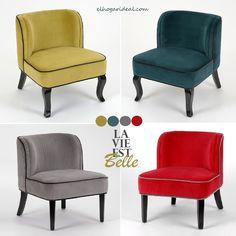 Me gusta la vida llena de color. Mostaza, azul pato, gris y rojo. ¿Entre estas sillas bajas de terciopelo con cuál te quedas? http://elhogarideal.com/es/12-muebles