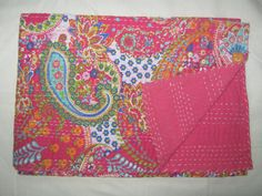 Hey, I found this really awesome Etsy listing at https://www.etsy.com/listing/189996135/queen-paisely-bedspread-kantha-quilt