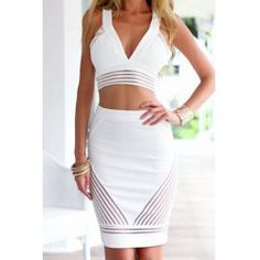 Stylish Plunging Neck Sleeveless Short Tank Top and Skirt Suit For Women | TwinkleDeals.com