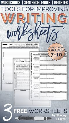 Looking to help your students improve their writing skills? Why not take it back to basics with these three *FREE* engaging worksheets focusing on words, sentences and style.