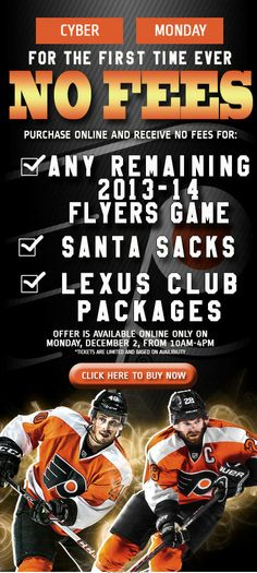 Philadelphia Flyers - No Ticketing Fees during Cyber Monday