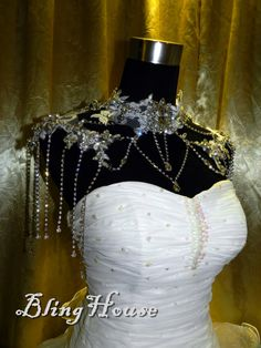 SALE Handmade rhinestone shoulder necklace /bridal by Blinghouse, $188.00