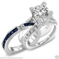 ROUND F-G BRIDAL SET BLUE SAPPHIRE DIAMOND ENGAGEMENT RING 2.75 CT HD VIDEO