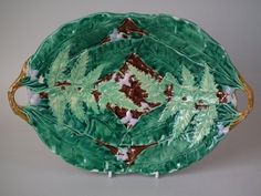 Majolica Platter with Fern, Leaf and Flower Pattern
