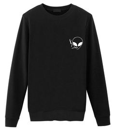 Smoking a Doob Alien Sweatshirt. Retro Sweatshirts, Tumblr Sweatshirts, Hipster Outfits, Cute Outfits, Rock Outfits, Emo Outfits, Alien Sweatshirt, Skull Sweater, Rainbow Sweater