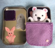Lil' Maties - Polar Bear - purple bed set in tin by MatiesMeadow on Etsy https://www.etsy.com/listing/232155224/lil-maties-polar-bear-purple-bed-set-in