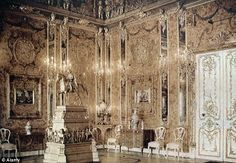 The original Amber Room in 1932 before it was looted and stolen by the Nazis during WWII, an act that sparked a 60-year-hunt for the missing Soviet treasures...