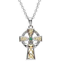 """Measures approximately 1.06"""" high by .71"""" wide with 18"""" Belcher Chain Polished Sterling Silver and 19K Gold Plate Celtic Cross Comes Beautifully Gift Boxed Made in Ireland by Artisan Jewelers Hallmark stamped at the Assay Office in Dublin Castle The Celtic cross dates back to the ninth century in Ireland. It is recognized as a symbol of faith and pays homage to our ancient heritage. This beautiful cross is crafted with 9K gold-plating and sterling silver. The cross also has a genuine Emerald sto Diamond Cross Necklaces, Celtic Wedding Rings, Irish Jewelry, Sterling Silver Cross, Silver Pendants, Vintage Engagement Rings, Cross Pendant, Jewelry Crafts, Jewelry Design"""