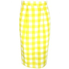 FAIR+true Unique Fairtrade Gingham Pencil Skirt (€78) ❤ liked on Polyvore featuring skirts, bottoms, pencil skirts, yellow pencil skirt, gingham skirt, knee length pencil skirt and yellow skirt