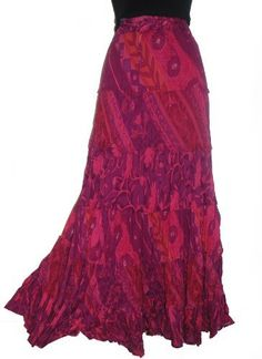 Buy Ladies Long 100 Crinkle Cotton Tiered Hippy Boho Gypsy Skirt With Internal Petticoat at Fashion Clothes