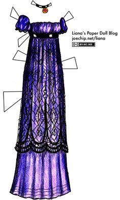 Purple and Red Empire Waist Gowns with Black Lace Overskirts Dress Card, Dress Up, Paper Toys, Paper Crafts, Purple Satin, Purple Dress, Paper Dolls Printable, Vintage Paper Dolls, Drawing Clothes