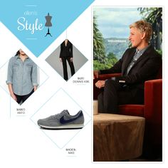 Ellen's Look of the Day: black suit, chambray shirt, grey Nike's
