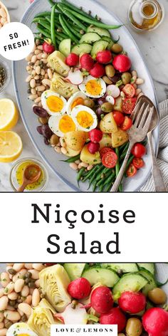 This Nicoise salad recipe is my take on the traditional French composed salad. A bright lemon dressing coats green beans, potatoes, olives, and more.