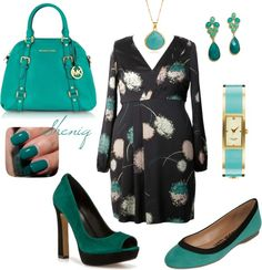 """I WOULD DIE FOR THE TURQUOISE MICHAEL KORS BAG!!!  """"Office Chic PLUS by Sheniq"""" by sheniq on Polyvore"""