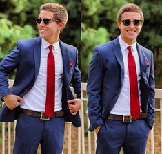 Navy blue suit, slim fit white oxford, brown belt, solid red knit tie and red pocket square. Suit With Red Tie, Navy Blue Suit, Suit And Tie, Blue Suits, Jake Miller, Terno Slim, Homecoming Outfits, Homecoming Suits For Guys, Prom Suit