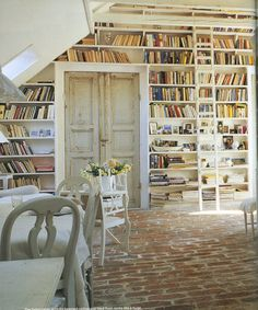 Old brick flooring, French doors and bookshelves - everything I love! Library Wall, Dream Library, Library Ladder, Attic Library, Bookshelf Ladder, Beautiful Library, Antique Doors, Old Doors, Vibeke Design