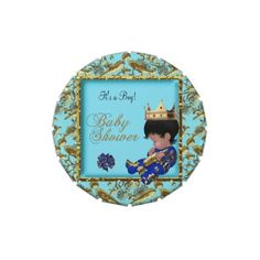 Baby Shower Blue Gold Boy crown prince Favor Candy Tins #baby #babyshower #shower #cute #custom #candytins #tins