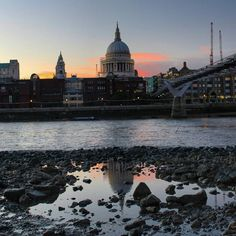St Paul's Cathedral., London - shot from the banks of the River Thames at low tide