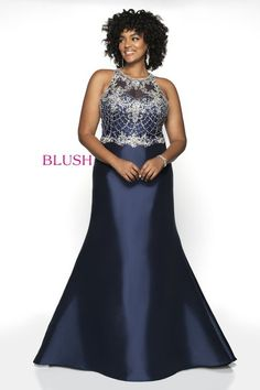 76423491d2932 Blush Too is a high neck sleeveless plus size prom gown with a Hand Beaded  Tulle bodice on a Mikado skirt.