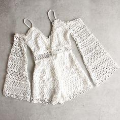 bold crochet overlay romper - white - shophearts - 1 Crochet Dress Outfits, Crochet Pants, Crochet Romper, Crochet Clothes, Diy Clothes, Knit Crochet, Crochet Fashion, Diy Fashion, Fashion Outfits