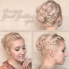 Greek Goddess hairstyle - romantic braided updo with curls for medium long hair from tutorial, hairdo video tutorial Updo Hairstyles Tutorials, Braided Hairstyles Updo, My Hairstyle, Pretty Hairstyles, Wedding Hairstyles, Braided Updo, Lace Braid, Medium Long Hair, Medium Hair Styles