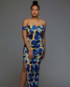 Nala Off Shoulder African Print Formal Gown (Blue Bubbles on Yellow) African Formal Dresses - Nala Off-the-shoulder Gown - D'IYANU African Formal Dress, African Print Dresses, African Print Fashion, African Attire, African Fashion Dresses, African Dress, Africa Fashion, African Wear, Fashion Outfits