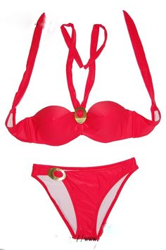 Halter String Push Up Paded Banded Sexy Bikini Separates Swimsuit Swimwear @Merpher. L