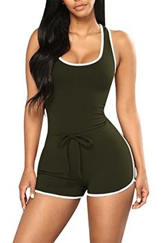 Women's Clothing, Jumpsuits, Rompers & Overalls, Women Summer Sexy Sleeveless Tie Waist Shorts One Piece Romper Jumpsuit - Army Green - Low Cut Tank Tops, Summer Tank Tops, Sexy Outfits, Cute Outfits, Fashion Outfits, Fasion, Overalls Fashion, Fashion Jumpsuits, Fashion 2017