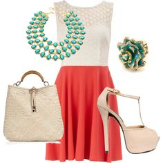 coral and teal, created by melissacherise on Polyvore