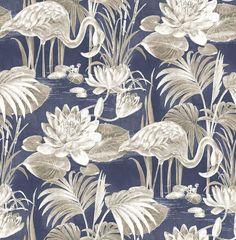 Miltonia Navy Flamingo 2766-24622 Brewster Wallpaper - Wallpaper