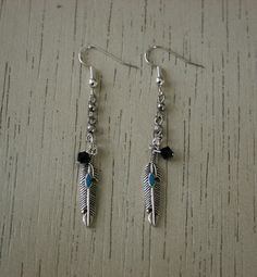 Detailed Silver Feathers with Painted Turquoise Oval and Black Swarovski Bead - Dangle Earrings