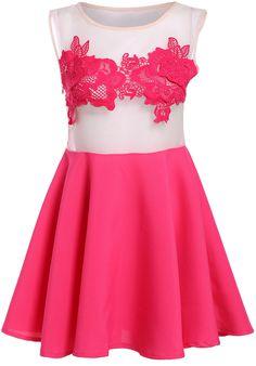 Red Sleeveless Sheer Mesh Pleated Dress 15.83