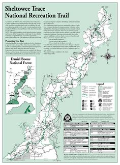 Sheltowee Trace Trail Map through Daniel Boone National Forest