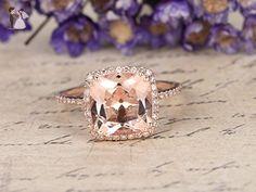 Cushion Morganite Engagement Ring 9mm VVS Pink Gemstone 14K Rose Gold Wedding Band,SI I-J Diamond Wedding Bridal Promise Ring,Anniversary,Stacking - Wedding favors (*Amazon Partner-Link)