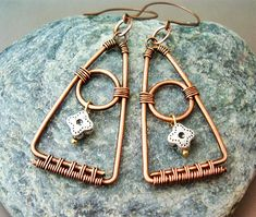 Wire Wrapped Triangle Earrings Copper  wire by GearsFactory, €15.00