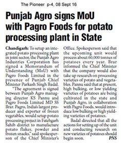 Punjab Agro Industries Corporation signed a Memorandum of Understanding (MoU) with M/s PAGRO Foods Ltd. in the presence of Punjab Chief Minister Mr. Parkash Singh Badal #AkaliDalinNews