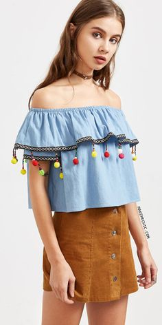 Blue Embroidered Tape And Pom Pom Trim Off The Shoulder Top