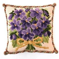 Posy of Violets Needlepoint Kit Needlepoint Pillows, Needlepoint Kits, Tapestry Kits, Back Pictures, Hanging Signs, Christmas Baubles, Needlework, Canvas Prints, Throw Pillows