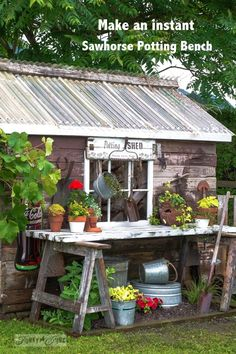 Create a charming, instant potting bench feature with just two sawhorses and a flowerbed underneath! By Funky Junk Interiors for eBay.