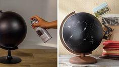 globe terrestre peinture tableau noir