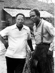 Alex Haley-Author of 'Roots', on the set with Georg Stanford Brown.