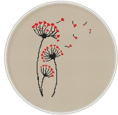 Dandelion cross stitch pattern