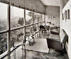 Affonso Reidy, Portinho House 1950, - Living room glazed wall