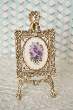 Gorgeous Vintage Miniature Easel Frame with Petit Point
