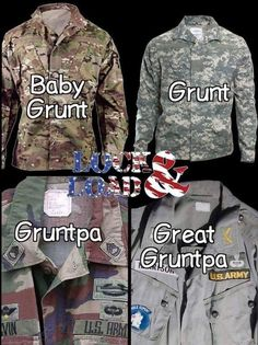 My daddy wore the Gruntpa era uniform. Army Jokes, Military Jokes, Army Humor, Military Guns, Military Life, Military Service, Military Motivation, Army Brat, Army Infantry